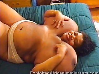 African bbw balloon tits masturbates in...