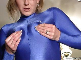 Sexy Natalie in Blue Spandex bodysuit