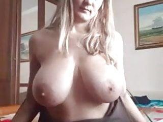 Blonde hot mom displaying her mega big knockers on reside