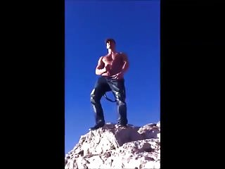Guy jerking off and shooting a huge load...