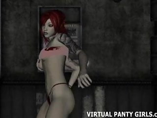 Busty 3d redhead stripper dancing at the club...