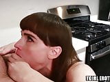Tranny housewife rimmed and slammed in the kitchen