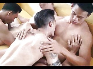 Hot Asian group fun with Nipple play