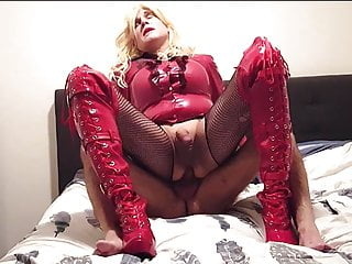 No240 red latex slut swallows huge cumshot...
