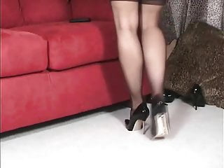 Old lady shows her beautiful legs and high heels