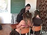 Sodomy in a french students groupsex party at school