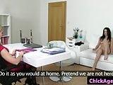 Les female agent seduces maid at casting