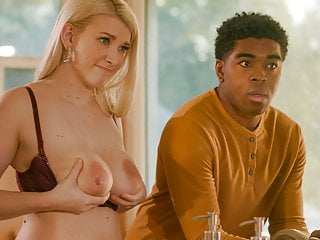 Busty blonde Emily Wright is drilled by a black cock