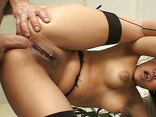 Big ass brunette gets anal fuck with some creampie