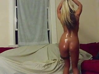 butt naked blonde strips and plays