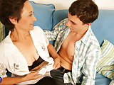 Hairy mature mother gets warm creampie from son