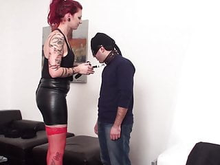 giant redhead madame gives slave Maskjoe 100 slaps