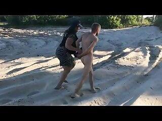 Policewoman makes man strip beach enm cfnm...