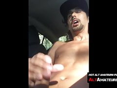 Sexy amateur films while jacking and stroking in his car