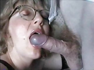 Blonde milf giving blowjob and get cum on...
