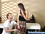 Massage amateur reluctantly sucks her masseur