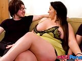 Chubby Brit skank servicing two nerd dicks all alone