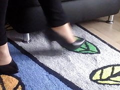 First try-on of well worn black heels