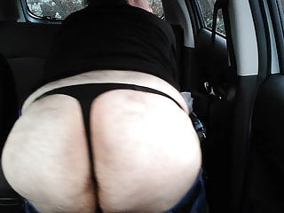 Showing my ass and thong in the car