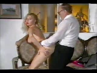 Older man fucking hot babe on couch wear...