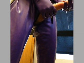 Solo anal session catsuit with cumshot...