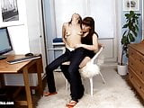 Orina and Anise hot lesbian brunettes fuck near the computer