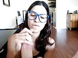 Nerdy Latina, great blowjob and handjob