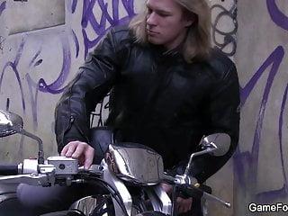 Hunky hetero biker is seduced into gaysex