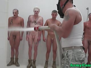 Ginger soldier drills shower...