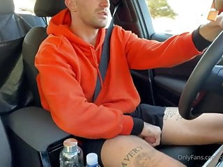 beautiful thighs guy wanks and cums in his car