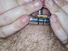 Wife teasing husband locked in chastity