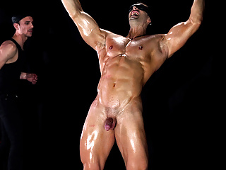 Straight muscular bdsm slave submits to gay bondage...
