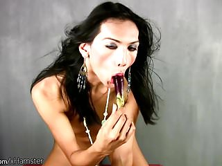 Ladyboy strips down and swings about with cock...