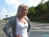Public Agent Sexy blondes public blowjob and hot car bonnet