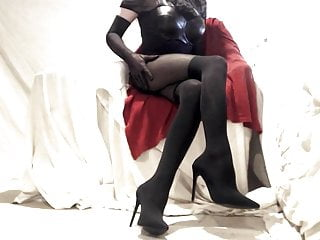 leather and nylon  in Crossdresser sexy boots encased Kinky