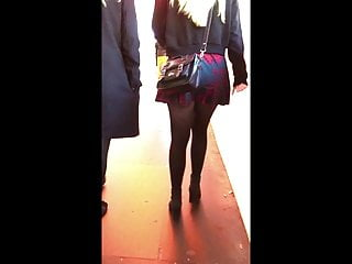 Candid Teen Miniskirt Pantyhose Tights