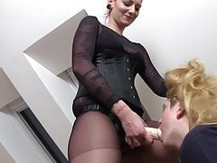 redhead mistress teach her sissy for dick sucking