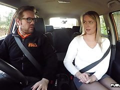 Real babe fucking teacher in car before guy cums