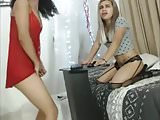 Blonde and Brunette shemales Blowjob on webcam
