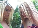 Beautiful lesbian Marlie Moore dildo fucking