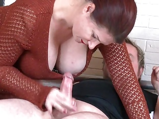 Busty British MILF Angel with cum covered tits