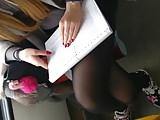 Voyeur Pupil in Black Pantyhose with Faceshot
