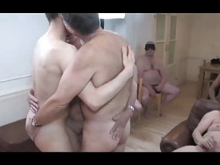 Teasing stud lights desire in a grandpas' sex party