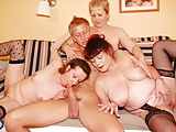 Amateur gangbang with mature moms and hot stud