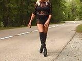 black long boots and transparent dress