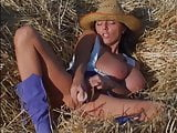 Mega Tits Euro Babe Wanks Herself Off with Toy in Open Field