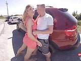 Skinny Petite Babe getting fucked in a Parking Bay