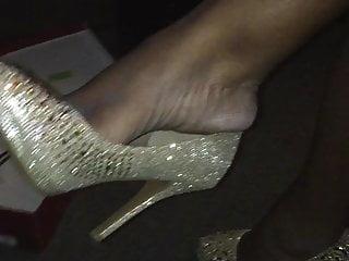 Ebony dangling gold pumps shoeplay