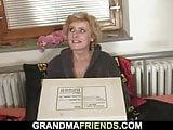 Delivery men fuck old blonde skinny granny