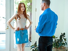 DADDY4K. Handsome man helps red-haired hottie get revenge